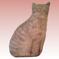 Early well loved straw stuffed printed Tabby Cat