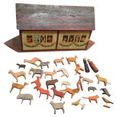 Early wooden and paper litho Noah's Ark & Animals - Red Tag Sale Item