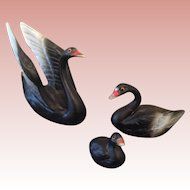 Vintage miniature china black Swans