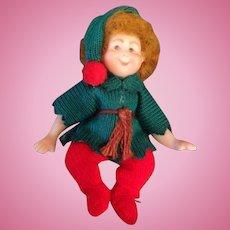 Miniature artist bisque Christmas Pixie