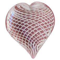Vintage spiral heart glass paperweight