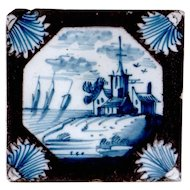 18th century Dutch Delft Landscape Tile