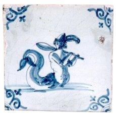 17th Century Antique Sea Creature Tile