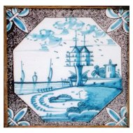 18th Century Dutch Tile with Fleur de Lis Corners