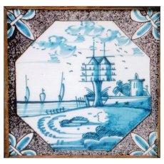 18th Century Dutch Tile with Fleur de Lis Corners