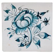 18th Century Delft Flower Tile