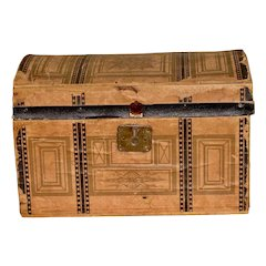Antique Paper Covered Dome Top Trunk for Your Doll