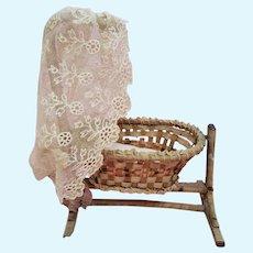 Miniature Antique Wicker Doll Cradle with Lace Bonnet