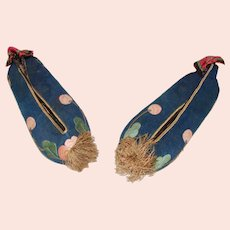 Cute Pair of Silk Oriental Child's Shoes