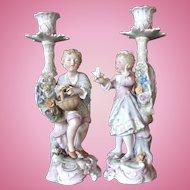 Beautiful Pair of Figural Porcelain Candlesticks