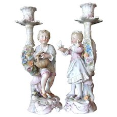 Beautiful Pair of Figural Porcelain Candlesticks