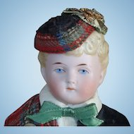 German Bisque Shoulder Head Doll in Scottish Costume