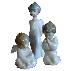 Lladro Three Piece Mini Angelitos Ornament Set