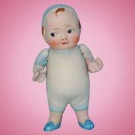 Little All Bisque Boy Doll in Blue