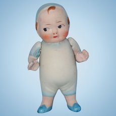 Little All Bisque Boy Doll in Blue