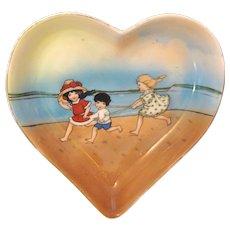 Heart Shaped Royal Bayreuth Tray with Beach Babies!