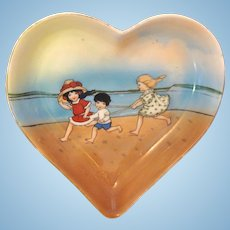 Heart Shaped Royal Bayreuth Tray with Beach Babies!