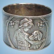 A Boy and His Dog Silver Plate Napkin Ring