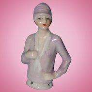 German Flapper Half Doll Wearing a Clouche