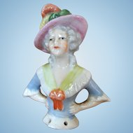Small German Half Doll with Fancy Hat