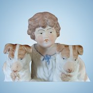 Adorable Boy and His Dogs Bisque Figurine