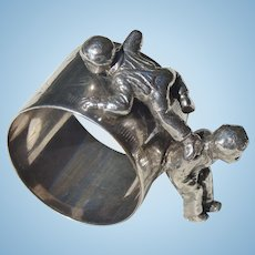Silver Plate Napkin Ring with Boys Playing