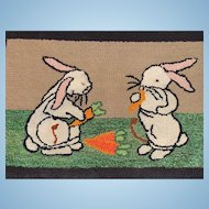 Folk Art Hooked Rug with Bunny Rabbits!