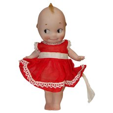 "Rose O'Neill German Bisque 7"" Kewpie in Cute Red Dress"