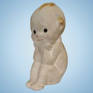 Rose O'Neill Chalkware Kewpie Thinker with Label