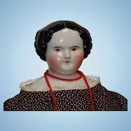 Large German Brown Eye China Head Doll