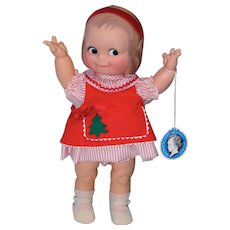 Darling Cameo Kewpie Vinyl Doll in Christmas Dress