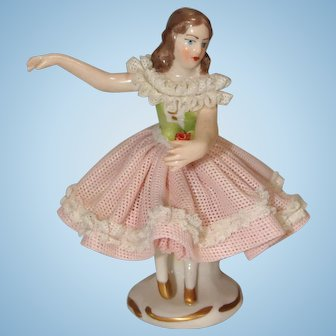 Small German Dresden Lace Figurine