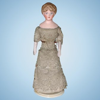 German Bisque Dollhouse Lady Doll in Lace Gown