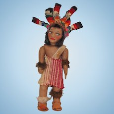 Felt Lenci Type Native American Doll with Great Headdress!