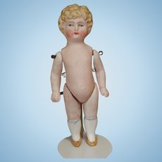 Miniature All Bisque Doll with Molded Blond Hair