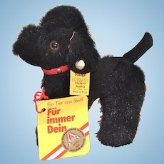 Cute Little Steiff Poodle Blacky Made in Austria