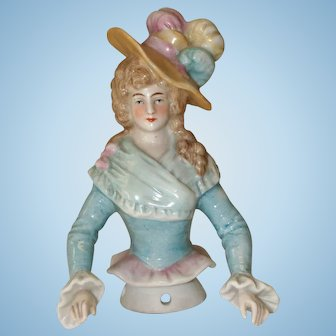 Porcelain Half Doll with Great Hat!