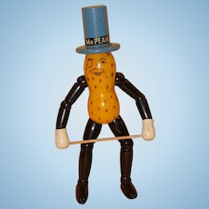 Wood Segmented Mr. Peanut Advertising Doll Made by Schoenhut