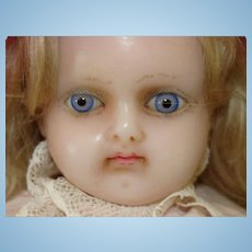 Antique Wax Shoulder Head Doll with Blue Glass Eyes