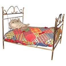Doll Size Metal Bed with Coverlet and Pillow