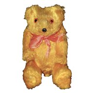 Little Yellow Jointed Mohair Bear with Glass Eyes