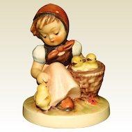German Hummel Figurine Chick Girl with Stylized Bee Mark