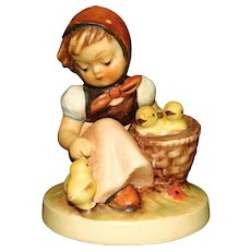 German Hummel Figurine Chick Girl with Stylized Bee Mark