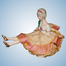 Porcelain Half Doll with Porcelain Legs on a Pincushion