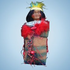 Unusual Skookum Papoose Doll Wrapped up in His Wool Blanket