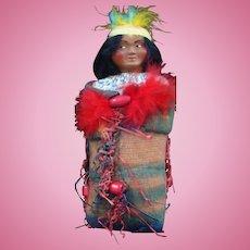 Unusual Skookum Papoose Doll Wrapped up in His Wool Blanket