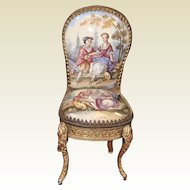 Miniature Viennese Enameled Brass Ormolu Side Chair with Romantic Scenes