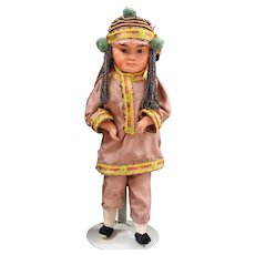 German Composition Oriental or Asian Doll with Slanted Glass Eyes