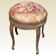 Miniature Viennese Enameled Brass Ormolu Side Table with Romantic Scene
