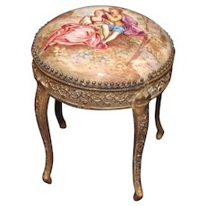 Miniature Viennese Enameled Brass Ormolu Side Table with Romantic Scene